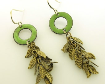 Leaf Earrings, green enamel with brass leaves, nature jewelry, autumn earrings by Kathryn Riechert