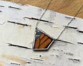 GEO Monarch Butterfly Necklace, real wing preserved under glass, orange butterfly, geometric shape, asymmetry