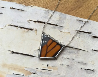 GEO Monarch Butterfly Necklace, real wing preserved under glass, orange butterfly, geometric shape, asymmetry