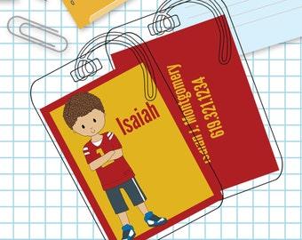 Sporty Boy Luggage or Backpack Tag- Custom