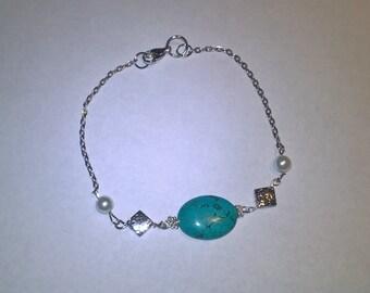 "Feminine Turquoise & Pearl 9.5"" Chain Beaded Anklet"