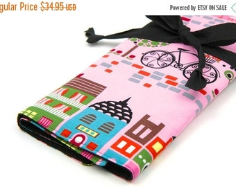 Sale 25% OFF Large Knitting Needle Case - Paris Houses - black pockets for circular, straight, dpn, or paint brushes
