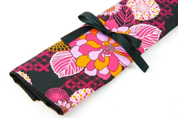 Large Knitting Needle Case Organizer - Hot Blossom - 30 black pockets for straight, circular, double point needles or paint brushes