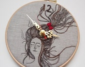 CLOSING SALE Persinette - Clock - Embroidered Linen Folk Wall Clock - Collaboration piece with Heidi Burton - FREE Uk Shipping 1/2 Price