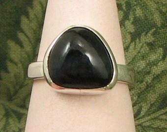 Hawk's Eye Quartz Sterling baroque Ring size 7 - OOAK