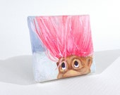 "Pink Haired Troll 2""x2"" Miniature Painting on Canvas"