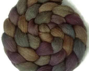 Handpainted Dark BFL Wool Roving - 4 oz. RIVENDELL - Spinning Fiber