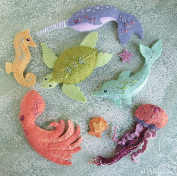 Mini Felt Sea Creatures Set 2 Plush Pdf Sewing Pattern