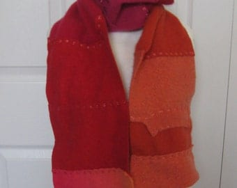 cashmere scarf . Felted Cashmere .  made from recycled Cashmere  Sweaters . PASSION FIRE 219