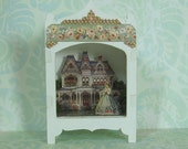 Miniature Toy Theater Vignette in Palest Mauve with Victorian House