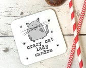 personalised  crazy cat lady wooden coaster funny friend, mum bff gift