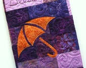Blessings Quilted Journal Cover in Purples with orange Umbrella, Gratitude Journal, Composition notebook, Diary, LogBook, Travel Diary