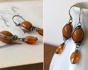 Caramel. Vintage glass earrings. Sterling silver wirewrap earrings by Anne More Jewelry