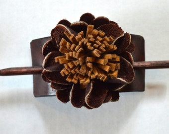 Leather Hair Accessory, Hair Stick, Brown, with 3D Flower