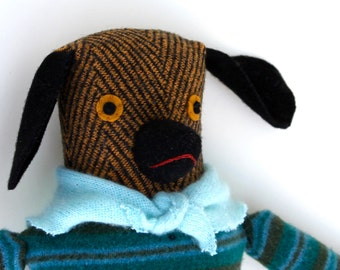 Herringbone Girl Dog wool doll in Aqua