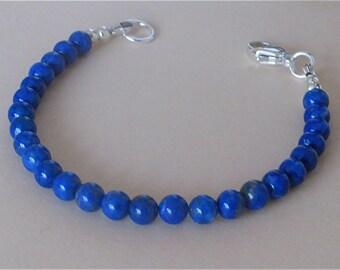 "Lapis Bracelet for Stacking - 5mm Lapis Beads, Sterling Silver Lobster Claw - 6 3/4"" - Southwestern Blue Lapis Lazuli Stacking Bracelet"