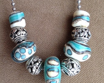 My favorite combination ivory and tuquoise lampwork bead necklace