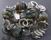 Sterling Silver Wire & Lampwork Wire Link Bracelet