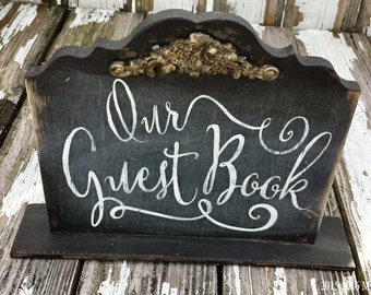 Wooden Guest Book Sign. Wedding Guest Book. Chalkboard Sign. Guestbook. Chalk Board. Wedding Signs. Wedding Reception Decor. Shabby Chic