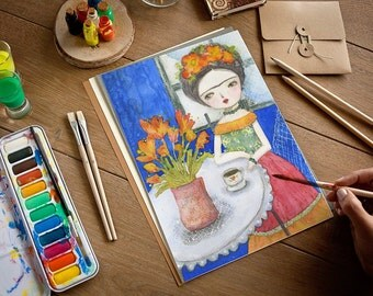 Frida in blue - Original watercolor painting by Danita, frameable wall art prints and ready to hang wood blocks.