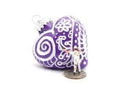 SALE Zentangle Glass Heart Ornament Hand Painted Inside and Outside OOAK Decor - Purple and White