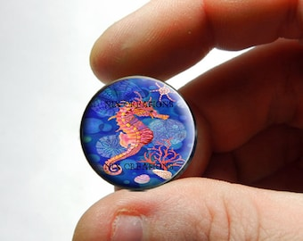 Seahorse Glass Cab Cabochon 25mm 20mm 16mm 12mm 10mm or 8mm - Design 7  - for Jewelry and Pendant Making