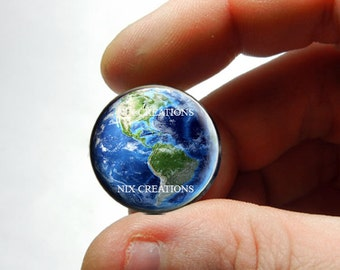 25mm 20mm 16mm 12mm 10mm or 8mm Glass Cabochon - Earth - for Jewelry and Pendant Making
