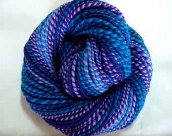 Handspun merino yarn, merino knitting yarn, bulky yarn, chunky yarn, dolls hair, teal, purple, self striping yarn, Purple Dip, 4oz, 106yds