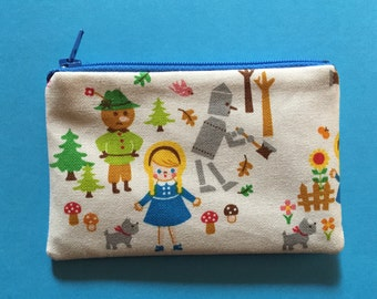 The Wizard of Oz zipper pouch - Small change purse - Wizard of Oz - Fairytale print bag - Cute zipper pouch