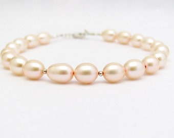 Pink Pearl Bracelet Real Pearls Sterling Silver Wedding Jewelry Hawaiian Jewelry, Bridesmaid Gift, Mother Sister Teacher Gift for Her
