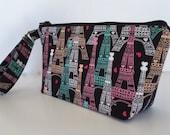 Eiffel Tower wristlet  makeup bag medium size  cosmetic purse  clutch purse  zipper pouch