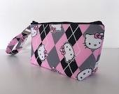 Pink argyle kitty makeup bag  medium size  cosmetic purse  clutch purse  zipper pouch