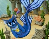Atlantis Mermaid Cat Painting Ocean Cat Art Blue Mermaid Cat Mercat Fantasy Big Eye Artwork Print 5x7 Cat Lovers Art