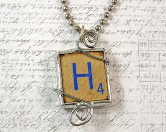 Blue Letter H Scrabble Pendant Necklace