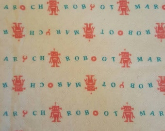 Japanese Import Pink Robot March on White Cotton Knit Pointelle Fabric - One Half Yard