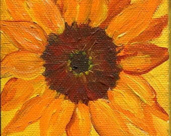 Sunflower mini painting, acrylic painting canvas art, small sunflower wall art, Sunflower Decor 3 x 3 flower painting canvas