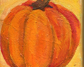 Pumpkin mini canvas art, Farmhouse decor original canvas, Easel 3 x 3 miniature painting pumpkin, kitchen decor, acrylic painting canvas art