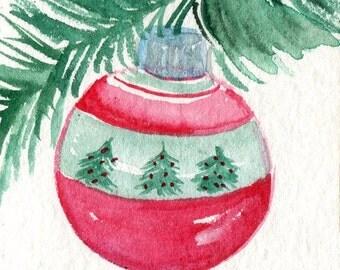 original ACEO Christmas ornament watercolor painting, small Christmas art card, original ACEO art, aceo card