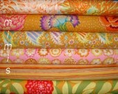 Kaffe Fassett Fabric, GOLD, Green, Pink, Lilac, Phillip Jacobs fabric 6 half yard bundle Fabric Bundle  Cotton Quilting Apparrel Fabric