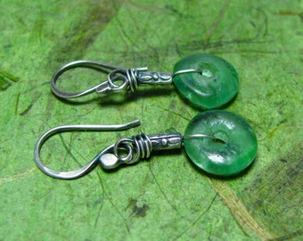 Full Circle - Recycled, Handmade Glass and Sterling Silver Earrings