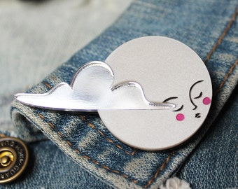 Moon Brooch -  pearl acrylic laser cut brooch badge pin platinum pearl pearlised and mirror clouds moon lady hand painted