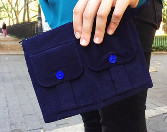 Zippered Wristlet, Fabric Wristlet, Wallet Wristlet, Blue Wallet, iPhone Wristlet, Blue Wristlet, Wristlet Purse, Corduroy