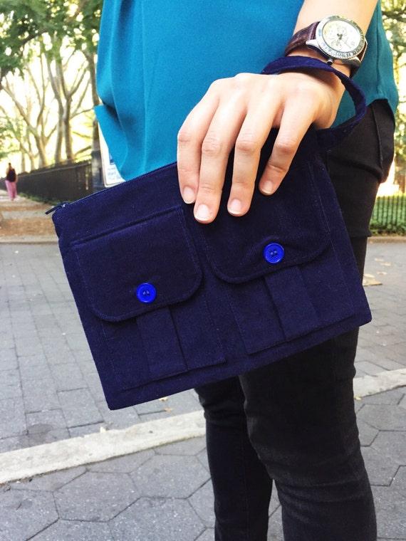 Zippered Wristlet, Fabric Wristlet, Wallet Wristlet, Blue Wallet, iPhone Wristlet, Blue Wristlet, Wristlet Purse, Corduroy