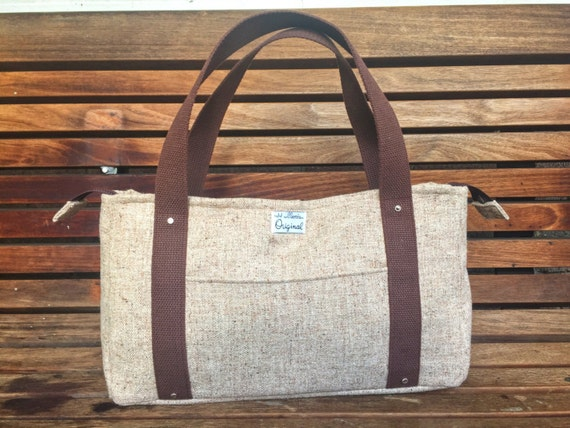 Speckled Pale Brown Wool Tweed Jessica Tote Bag, Handmade Brown Shoulder Bag, Wool Handbag, Wool Purse, Tweed Bag, Brown Tote Bag