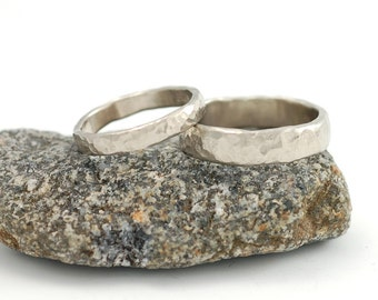 Love Rocks Wedding Rings - 14k Palladium White Gold Hammered Wedding Band Set - 3mm and 5mm - made to order wedding rings in recycled metal