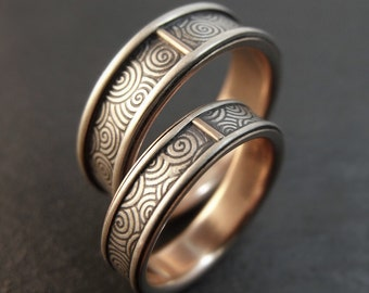 Wedding Band Set, Spiral Wedding Ring Set, Sterling Silver / 14k Rose Gold Ring, Opposites Attract Mens Wedding Band, Women's Wedding Band