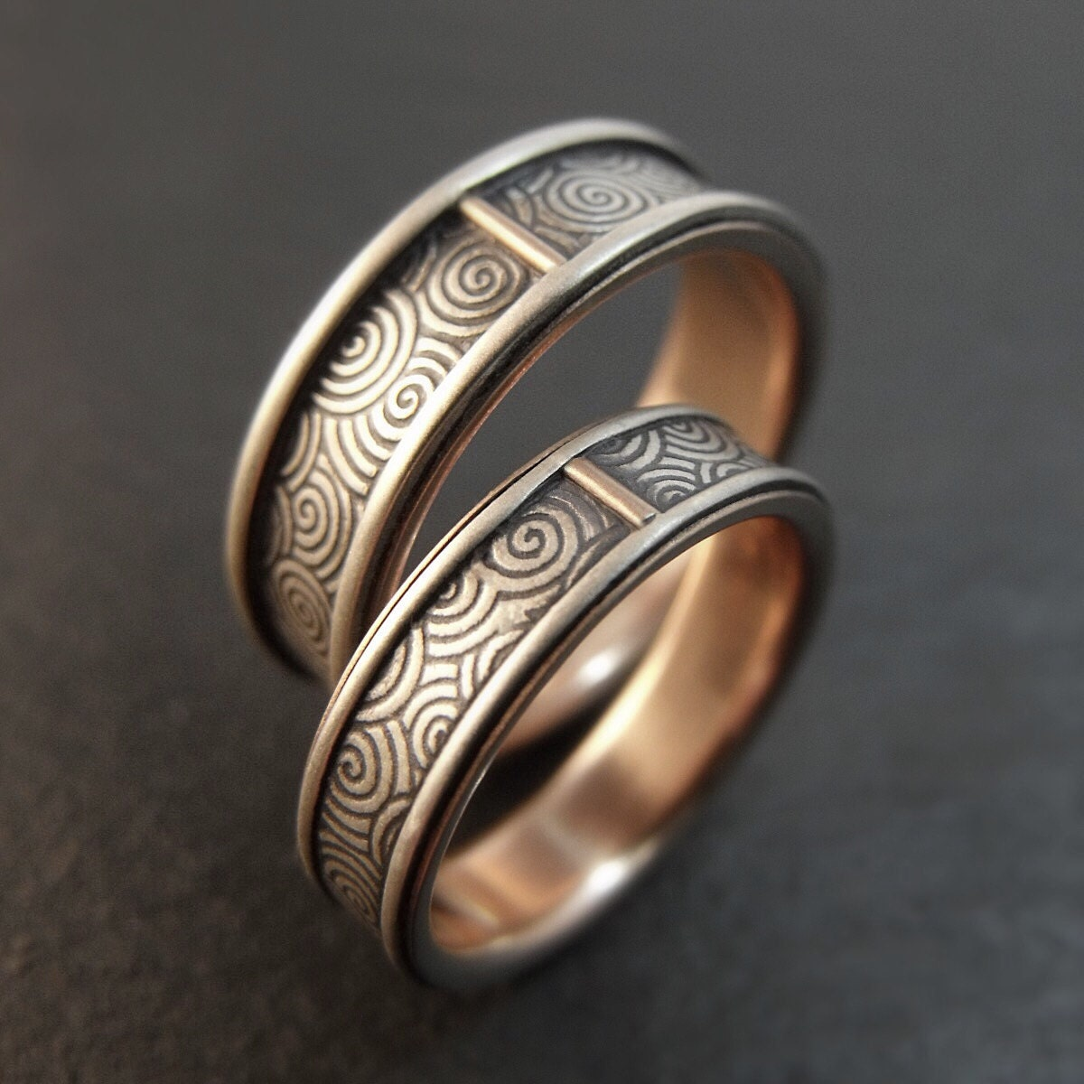 wedding band set spiral wedding ring set sterling silver