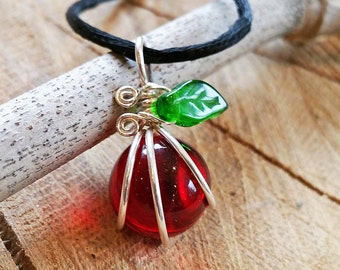 Ruby Red Apple Pendant Necklace - Teacher Gift,Teacher Appreciation, Graduation - Sterling Silver Wire Wrapped Glass Teacher Necklace