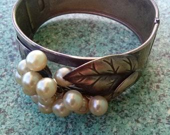 Vintage 1920s Bracelet Coro Art Deco Brass Bangle Pearls 20151120J152