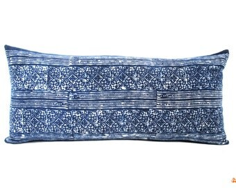 Blue Indigo Batik Lumbar Pillow - Bohemian Rectangle Pillow - Boho Linen Decorative Pillow- Filler Included